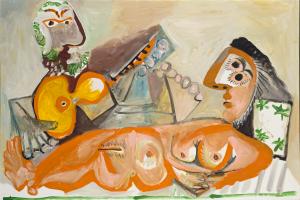 Pablo Picasso - Nu couché et Homme jouant de la guitare - Ground Effect